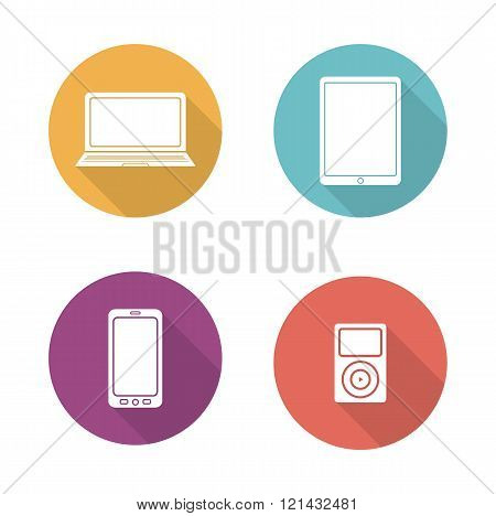 Consumer electronics flat design icons set