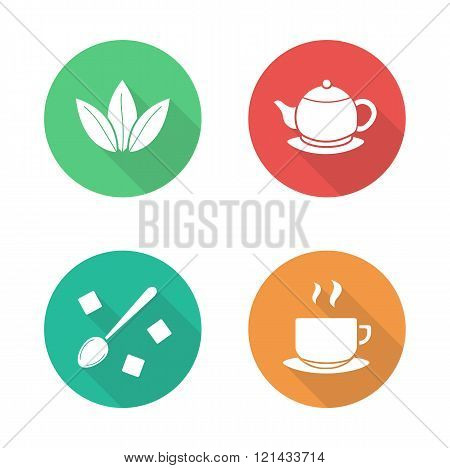 Tea flat design icons set