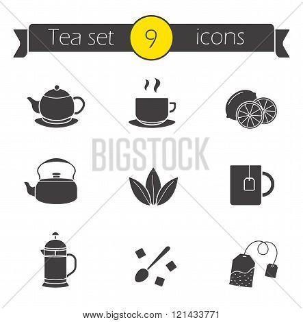 Tea silhouettes icons set