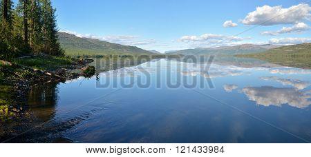 Panorama. Lake In The Putorana Plateau.