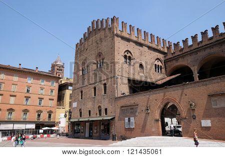 BOLOGNA, ITALY - JUNE 04: King Enzo's Palace. Bologna. Emilia-Romagna. Italy in Bologna, Italy, on June 04, 2015