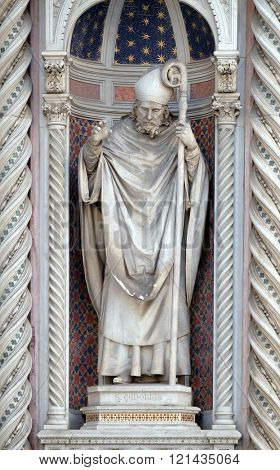 FLORENCE, ITALY - JUNE 05: Saint Zenobius of Florence, Portal of Cattedrale di Santa Maria del Fiore (Cathedral of Saint Mary of the Flower), Florence, Italy on June 05, 2015