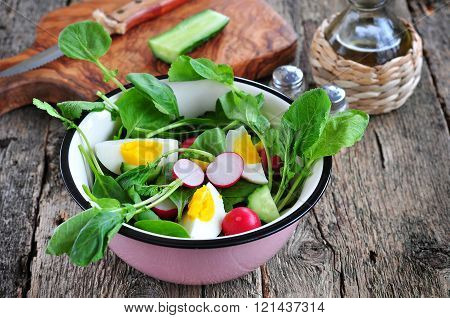 Salad with cucumber, radish, ramson, spinach, boiled eggs and olive oil.