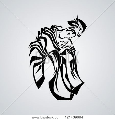 Illustration with graceful Japanese woman in a kimono with a classic hair style.