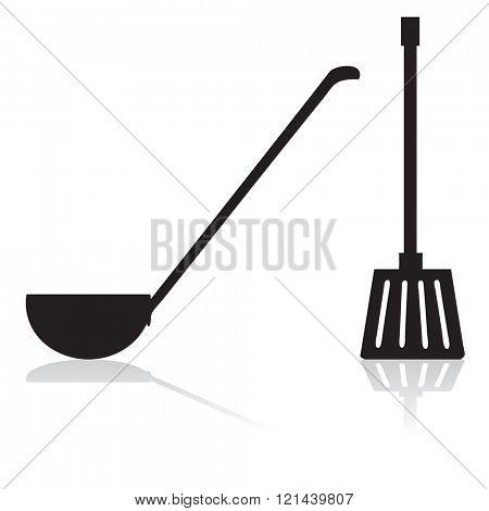 Ladle and spatula silhouette