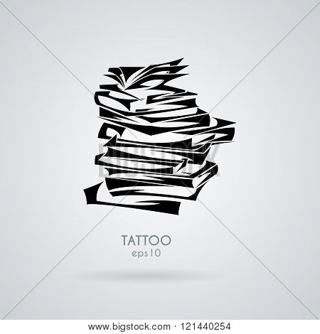 Vector illustration with a stack of books, textbooks and magazines in the style of tribal tattoos.