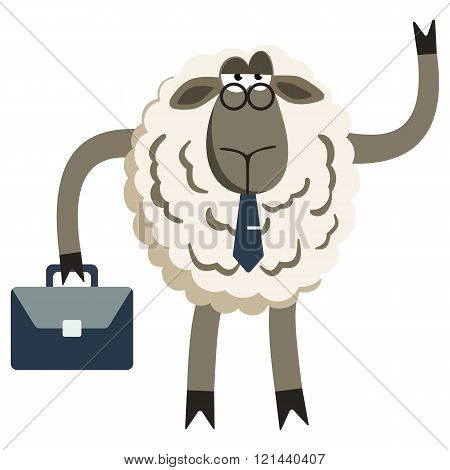 Stubborn Lamb Businessman Boss Vector