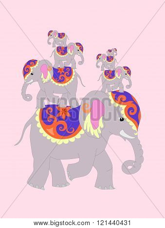 Seven Elephants For Happiness And Good Luck. Vector Illustration.
