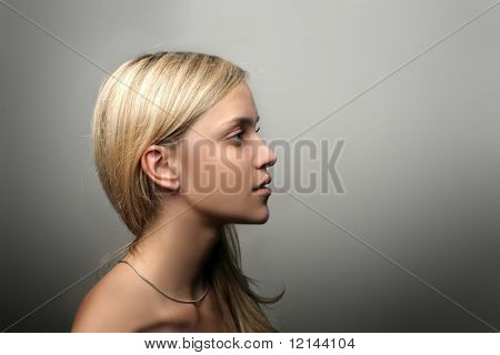 A portrait of a beautiful girl. Profile