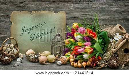 Easter Decoration With Eggs And Tulip Flowers Vintage Toned