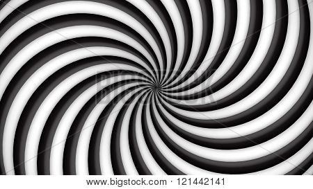 Black and white rotating hypnosis spiral