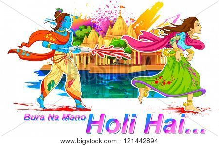 llustration of Radha and Lord Krishna playing Holi in Brij with messgae Bura na Mano Holi Hain meaning Do not get offended as it is Holi