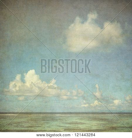 Vintage Image Of The Sea And Cloudy Sky