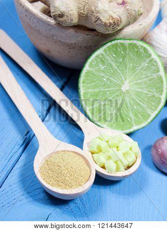 Ginger, Lime, And Garlic. Concept For Natural Medicine.