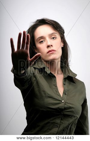 a portrait of woman with a refusal expression
