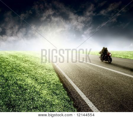 a big street and a motor-bike