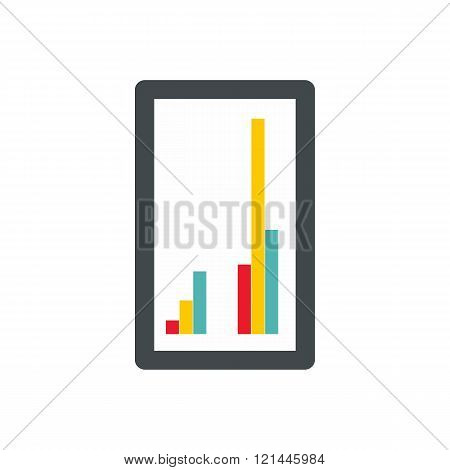 Tablet with charts icon, flat style