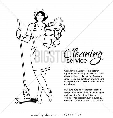 Woman in uniform. Cleaning services.