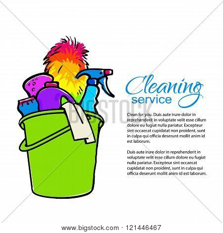 Cleaning services. Hand drawn spray and dust collector, rag, sponge. Cleaning homes and offices. Bucket with cleaning cleaners. Colorful painted bucket. Easy cleaning. Vector illustration