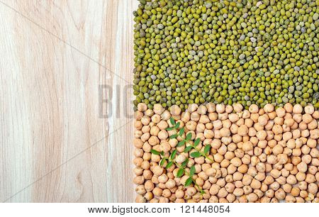 Mung Beans And Chickpeas.
