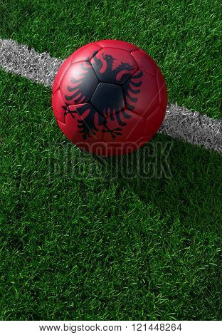 Soccer Ball And National Flag Of Albania,  Green Grass