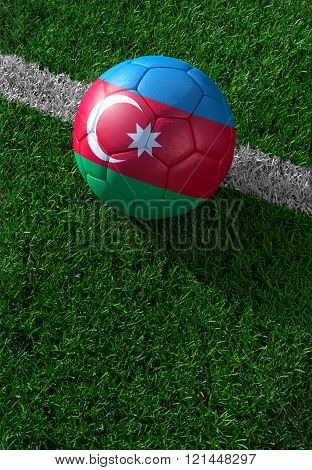 Soccer Ball And National Flag Of Azerbaijan,  Green Grass
