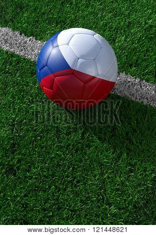 Soccer Ball And National Flag Of Czech Republic,  Green Grass