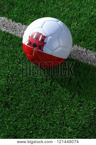 Soccer Ball And National Flag Of Gibraltar,  Green Grass