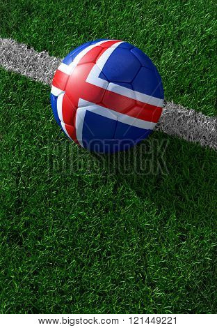 Soccer Ball And National Flag Of Iceland,  Green Grass