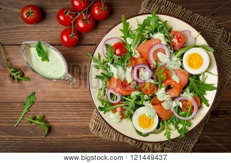 Smoked Salmon Salad With Arugula, Tomatoes, Eggs And Red Onion