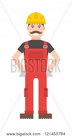 Cartoon worker character illustration.