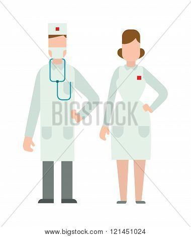 Doctor people man and woman illustration.