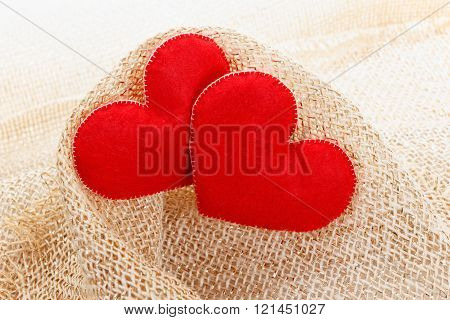 Texture Of Sackcloth Close Up And Heart Shape From Felt.