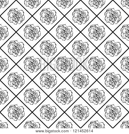 Black And White Vector Seamless Chess Styled Vintage Texture With Clove Flower. Vector Illustration