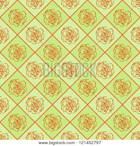 Green And Orange Vector Seamless Chess Styled Vintage Texture With Clove Flower. Vector Illustration