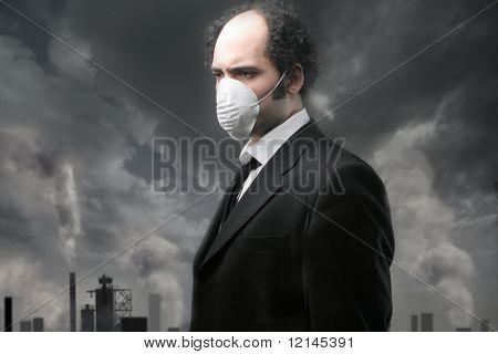 a man with the mask for the smog