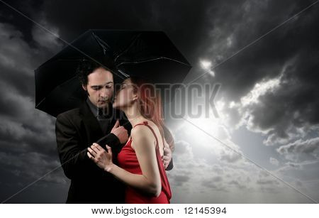 a couple with umbrella