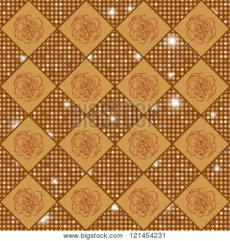 Golden Vector Seamless Chess Styled Vintage Texture With Clove Flowers And Shining Rounds. Vector Il