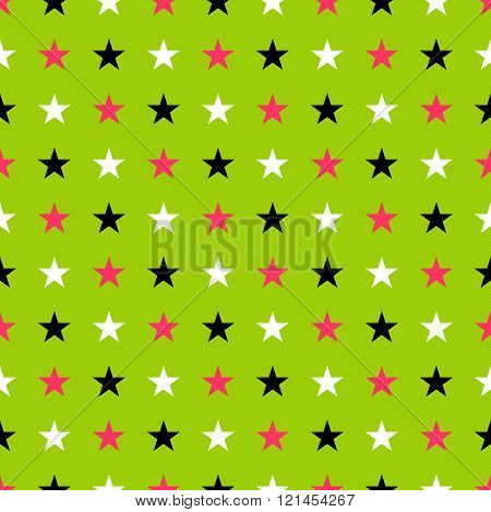 Seamles star pattern in glow punk colors - shiny green background