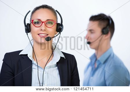 Portrait of team working in a call center