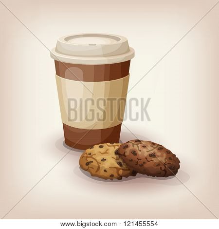 Disposable cup of coffee and chocolate chip cookies.