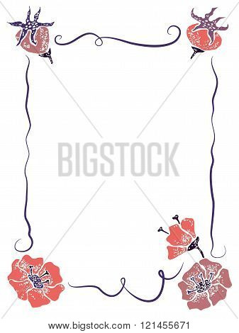 Vector template with wildrose for greeting card
