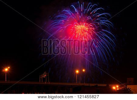 Blue Red Firework