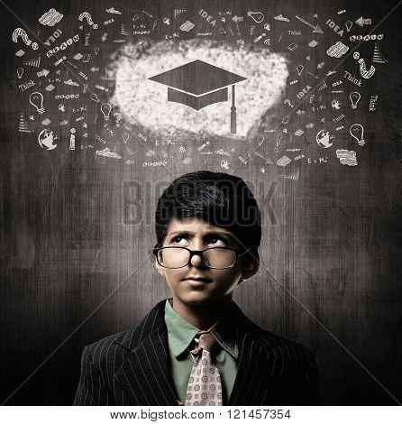 Genius Little Boy Wearing Glasses, Thinking Gradution Cap