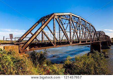 An Iconic Old Metal Truss Railroad Bridge in Texas.