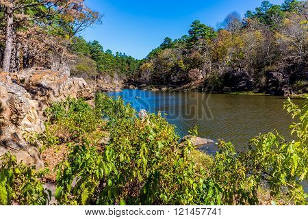 A Tranquil Autumn Outdoor Scene on Ash Creek at Robbers Cave State Park in Oklahoma.