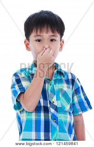 Asian Boy Covering His Nose. Isolated On White Background.