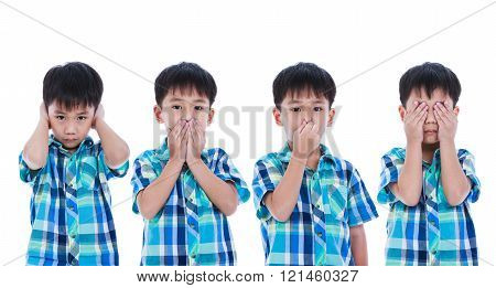 Set Of Asian Boy Covering His Ear Mouth Nose Eye In Different Poses. Isolated On White Background.