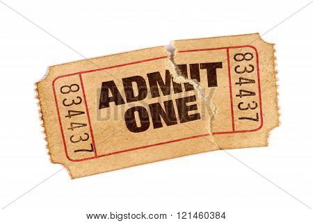Old Torn And Stained Admit One Movie Ticket
