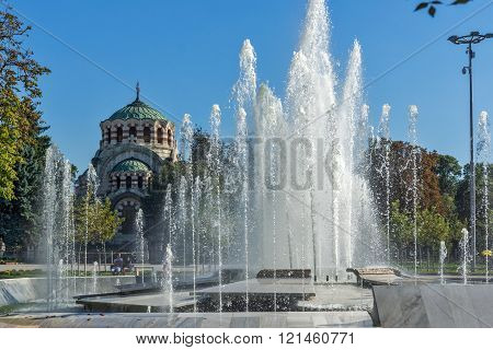 Fountain in the center of Pleven and St. George the Conqueror Chapel Mausoleum, Bulgaria